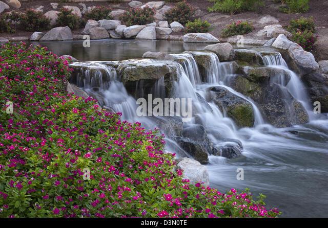 Waterfalls in Garden. Palm Desert, California - Stock Image