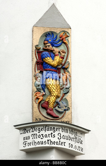 Papageno statue in memory of the location of the K.K.-Privilegierten Wiedner Theater, also known as Freihaustheater, - Stock Image