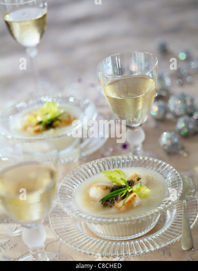 Turnip Nage with scallops and caviar - Stock Image