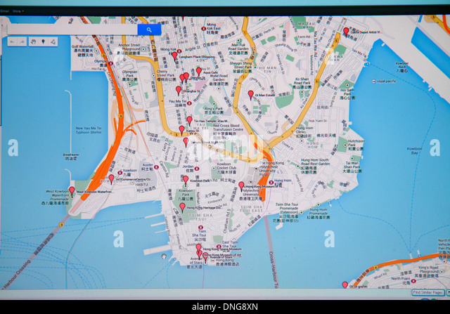 Hong Kong China Kowloon Google map red markers street computer monitor Cantonese Chinese characters hànzì - Stock Image
