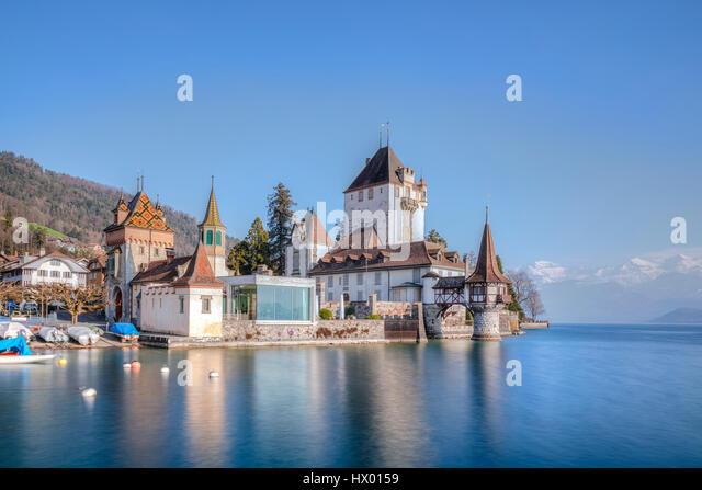 Schloss Oberhofen, Thunersee, Berner Oberland, Bern, Switzerland, Europe - Stock-Bilder