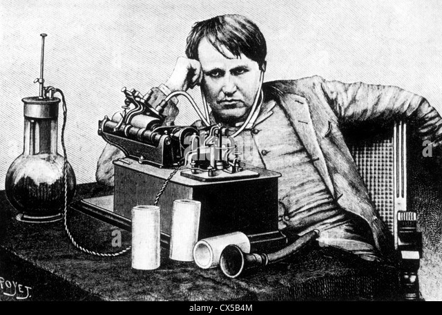 Thomas A. Edison with Phonograph, Engraving, Circa 1888 - Stock-Bilder