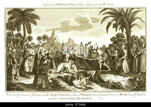 Lithographs various ceremonies customs east indies when woman has obtained leave to bury herself alive deceased - Stock Image