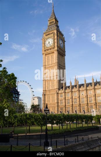 London - Big ben and London eye - Stock Image
