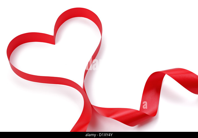 Heart shape red ribbon - Stock Image