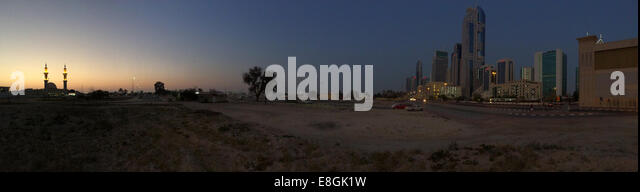 United Arab Emirates, Dubai, Skyline at sunset - Stock Image