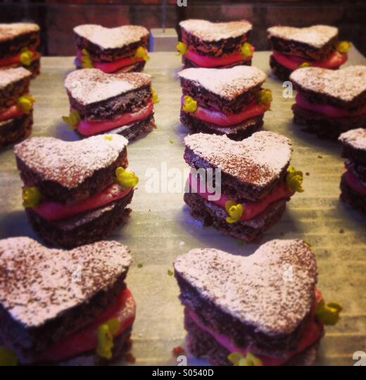 Heart shaped desserts - Stock-Bilder