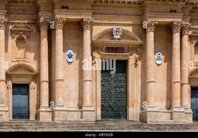 Noto Cathedral in Noto, Sicily, Italy, dedicated to Saint Nicholas of Myra, decorated in Sicilian Baroque, began - Stock Image