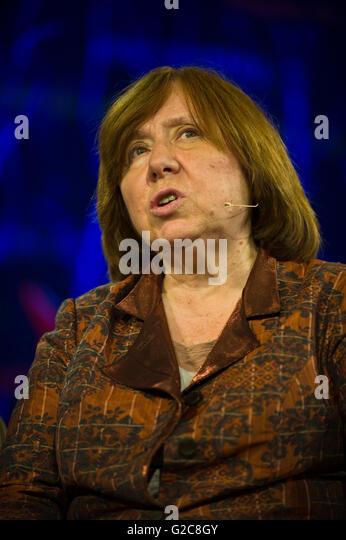 Svetlana Alexievich Belarusian journalist author & 2015 Nobel Literature Laureate speaking on stage at Hay Festival - Stock Image