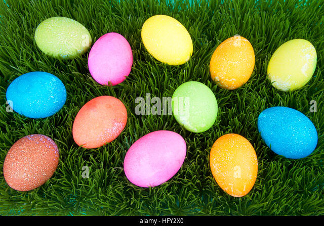 Speckled Eggs On Easter Grass Stock Photos & Speckled Eggs ...