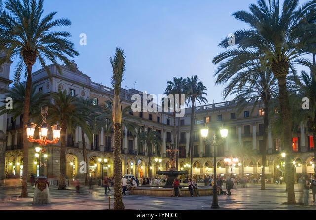 Placa Reial, Piaza Real, Plaza Reial, Royal Plaza, Barri Gotic, Barcelona, Catalonia, Spain - Stock Image