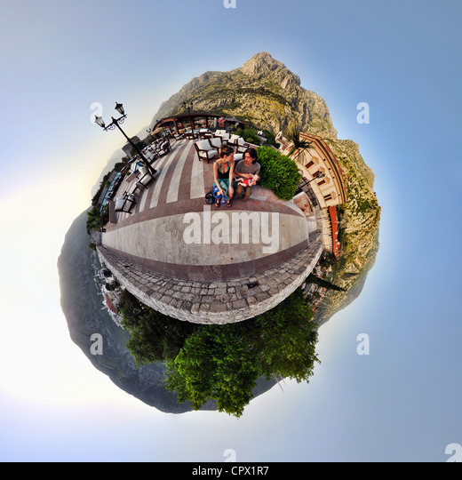 Family on vacation in Kotor, Montenegro, little planet effect - Stock Image