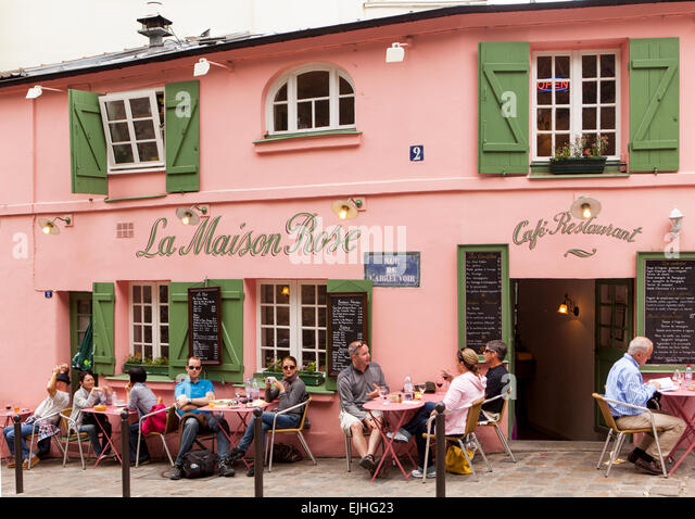 Cafe montmartre stock photos