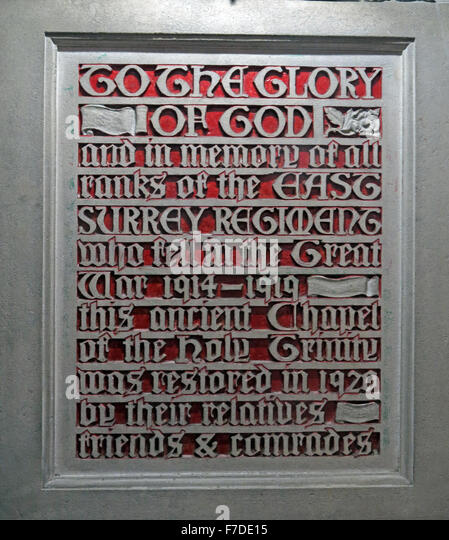 All Saints Church Kingston, To The Glory of God, and in the memory of all ranks of the East Surrey Regiment - Stock Image