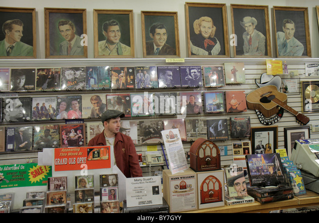 Nashville Tennessee Music City USA downtown Lower Broadway business strip Ernest Tubb Record Shop shopping country - Stock Image