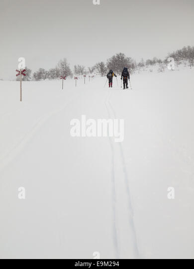 Snow shoe walker and skier walking along marked trail in the Northern Swedish mountain area of Sylarna (sylan) in - Stock Image