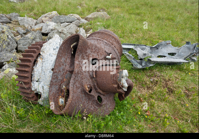 Wreckage from crashed WW2 Hurricane on Slight side, Scafell, Lake District - Stock Image