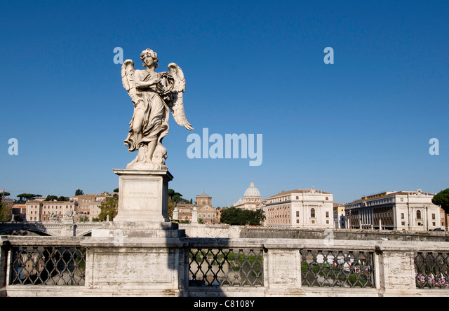 Bernini Statue on the Ponte Sant'Angelo, River Tiber, Rome, Italy - Stock Image