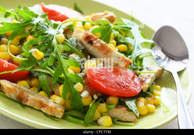 Salad with grilled chicken,Closeup. - Stock Image