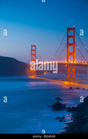 USA, California, San Francisco, Golden Gate Bridge from Marshall Beach - Stock Image