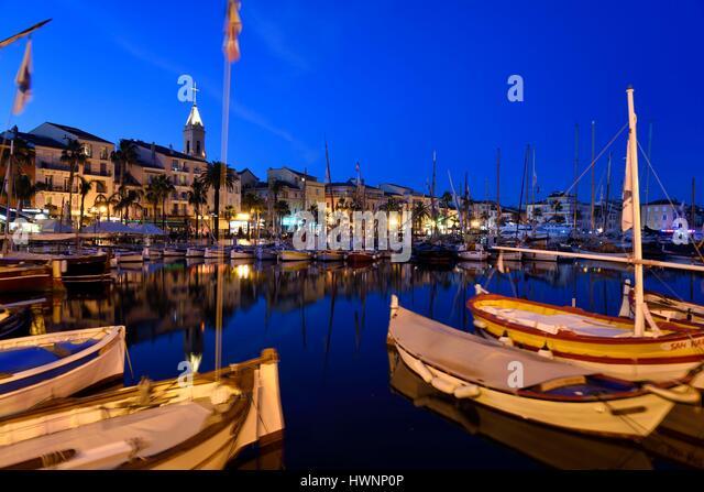 France, Var, Sanary sur Mer, the port, traditional fishing boats, the Pointus - Stock-Bilder