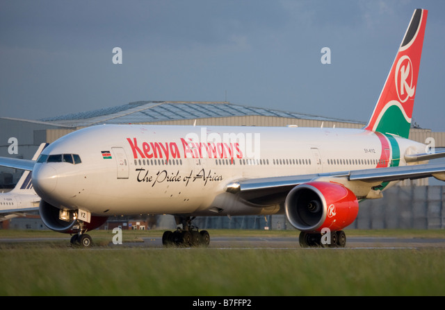 Kenya Airways Boeing 777-2U8/ER at London Heathrow airport. - Stock Image
