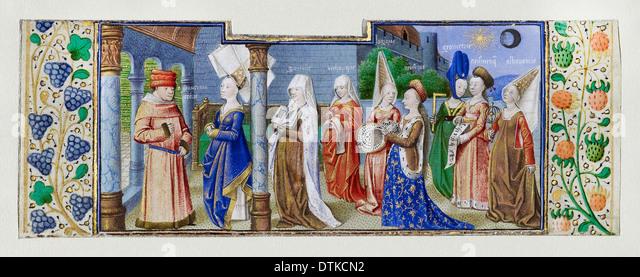 Coetivy Master, Philosophy Presenting the Seven Liberal Arts to Boethius. Circa 1460-1470 Tempera colors, gold leaf, - Stock-Bilder