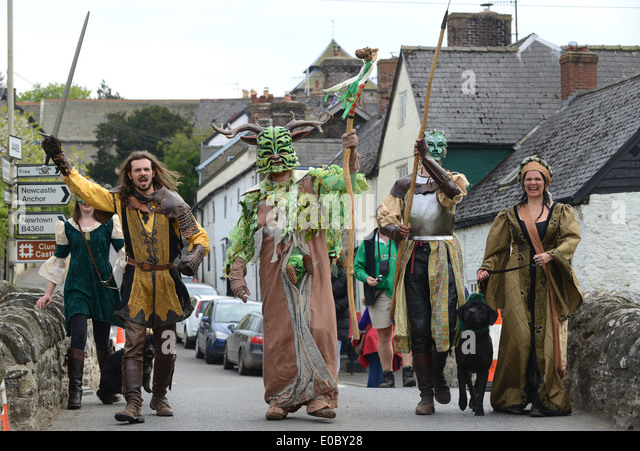 The Green Man Festival may day celebrations at Clun in Shropshire - Stock Image