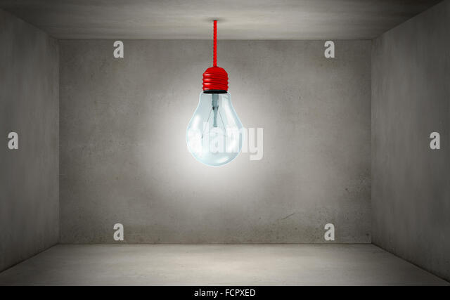 Conceptual image of light bulb on wall with sketches of ideas - Stock Image