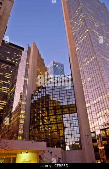 Evening in the financial district, Toronto, Ontario, Canada - Stock Image