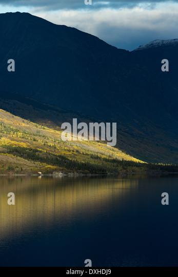 a late shaft of sunlight on Tutshi Lake, British Columbia, Canada - Stock Image