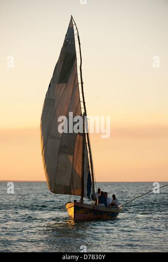 Dhow, Benguerra Island, Bazaruto Archipelago, Mozambique - Stock Image