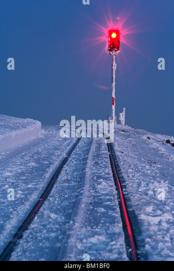 Signal light with rails at Brocken mountain - Stock Image