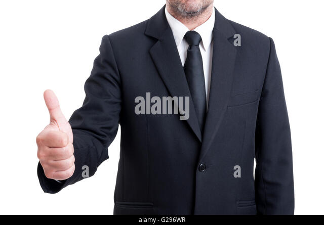 Anonymus business man showing thumb up or ok gesture isolated on white background - Stock Image