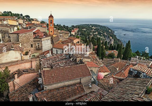 View from Grimaldi medieval castle, Roquebrune Village, , Roquebrune-Cap-Martin, Département Alpes-Maritimes, - Stock Image