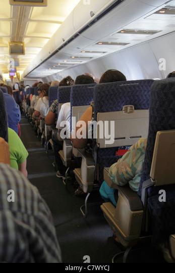 Managua Nicaragua Augusto C. Sandino Aeropuerto Internacional International Airport MGA onboard American Airlines - Stock Image