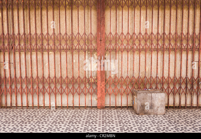 an old fashioned shop gate for retro or nostalgic backgrounds. Photo is taken in Malaysia, Asia. - Stock-Bilder
