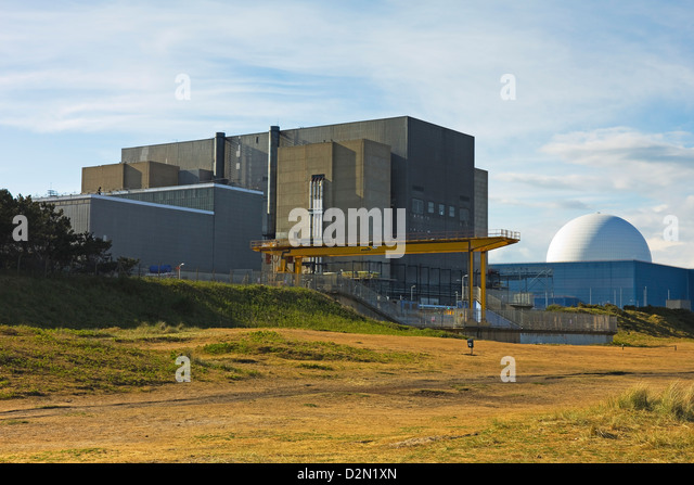 Sizewell A Magnox nuclear power station, on the left, and the B with pressurised water reactor, Sizewell, Suffolk, - Stock Image