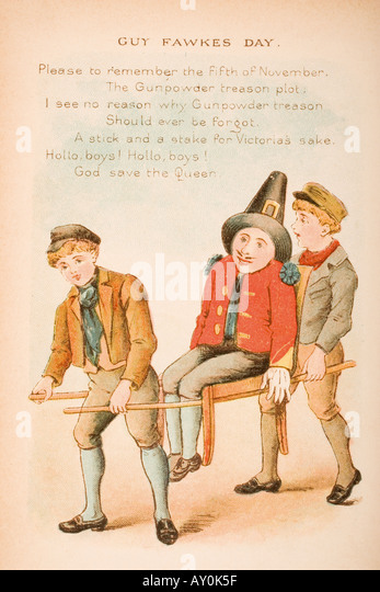 Nursery rhyme and illustration of Guy Fawkes Day from Old Mother Goose s Rhymes and Tales - Stock Image