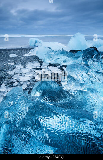 ice in the beach at Jökulsárlón, Iceland - Stock Image