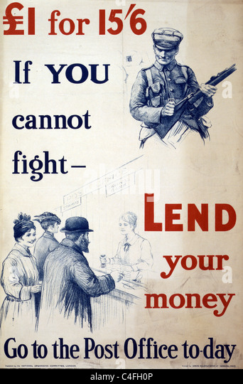Poster showing a soldier with rifle, and a scene of a 'Savings Bank' clerk helping customers at a post office. - Stock Image