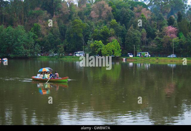 Boating in Kodaikanal Lake - Stock Image