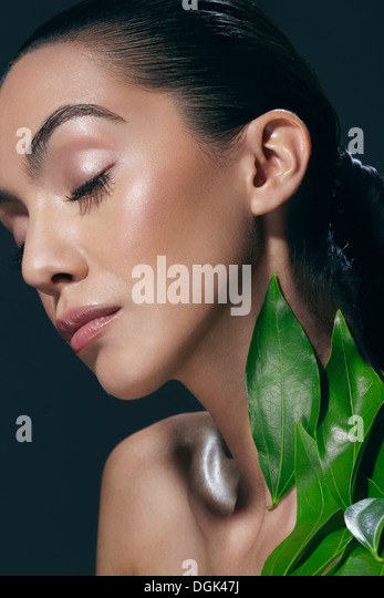 Woman in peaceful pose - Stock Image