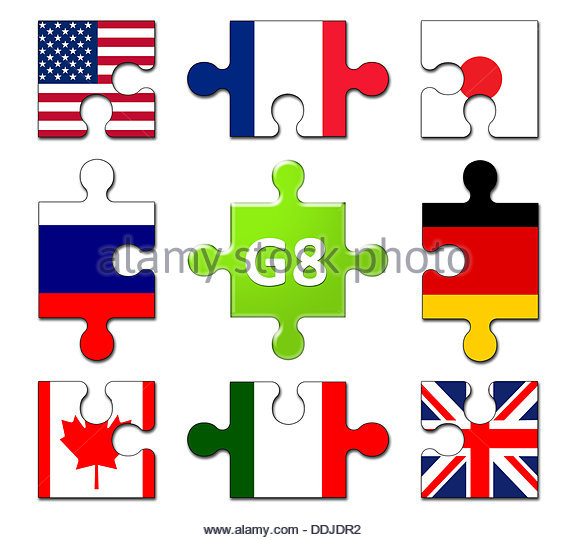 Countries Members of the G8 group - International Politics - Flag puzzle banner - Stock Image