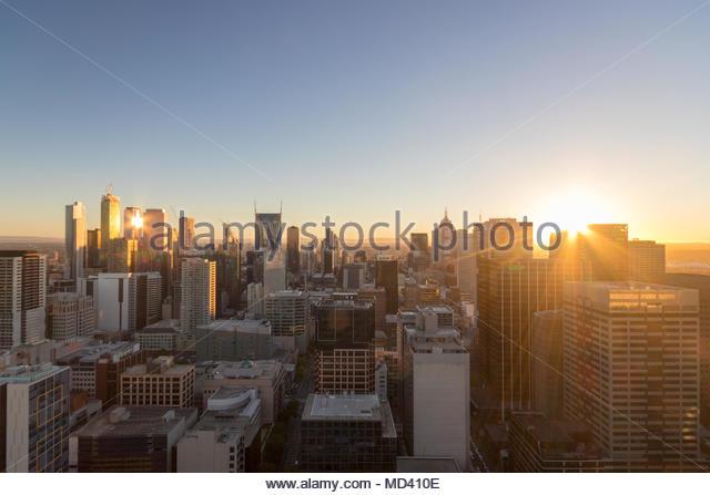 Cityscape at sunset, Melbourne, Victoria, Australia - Stock Image