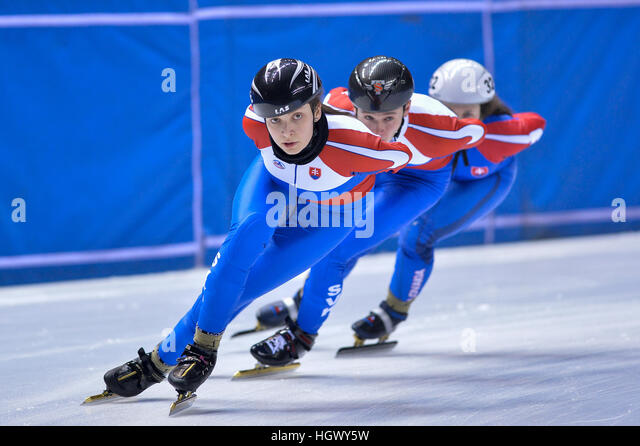Torino, Italy. 12th Jan, 2017. Sandra Trusova in action during the National Slovakia workouts for the ISU European - Stock Image