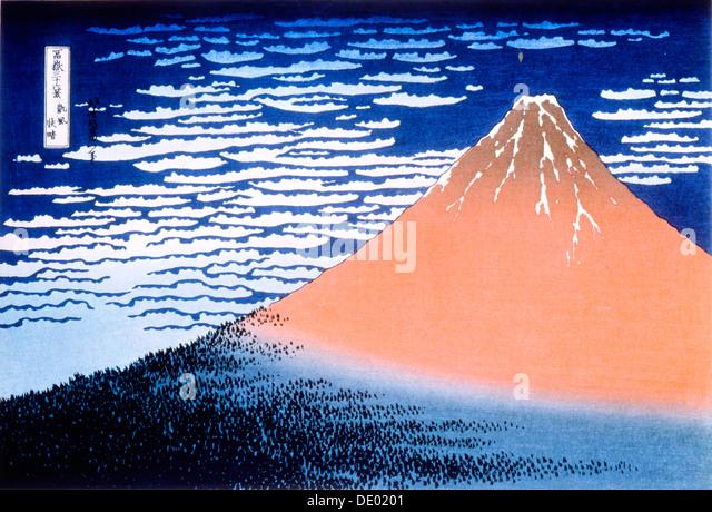 'Red Fuji', 1823-1831.  Artist: Hokusai - Stock Image