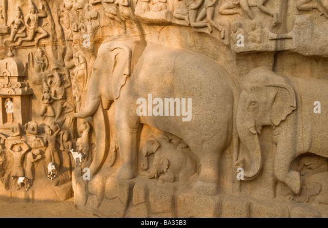 Arjuna's Penance Mahabalipuram Tamil Nadu India - Stock Image