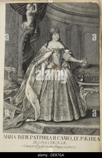 Portrait of Empress Anna Ioannovna (1693-1740), 1730. Artist: Anonymous - Stock Image