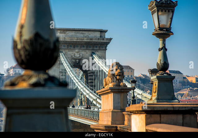 Szechenyi Chain Bridge - Stock Image